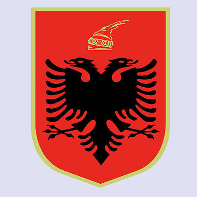 Poster featuring the drawing Albania Coat Of Arms by Movie Poster Prints