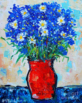 Albastrele Blue Flowers And Daisies Poster