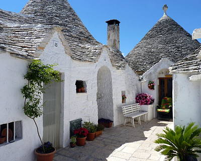 Alberobello Courtyard With Trulli Poster
