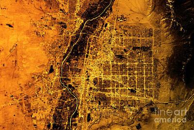 Albuquerque Abstract City Map Golden Poster by Frank Ramspott