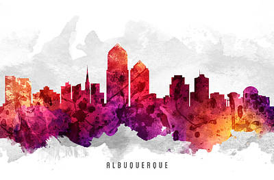 Albuquerque New Mexico Cityscape 14 Poster by Aged Pixel