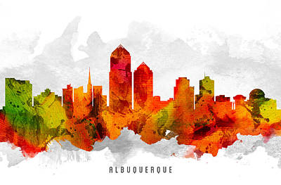 Albuquerque New Mexico Cityscape 15 Poster by Aged Pixel