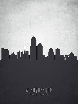 Albuquerque New Mexico Cityscape 19 Poster by Aged Pixel