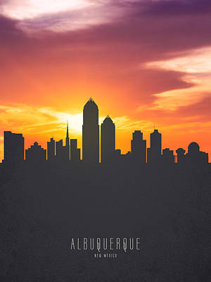 Albuquerque New Mexico Sunset Skyline 01 Poster by Aged Pixel