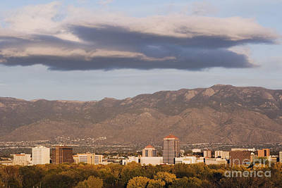 Albuquerque Skyline With The Sandia Mountains In The Background Poster