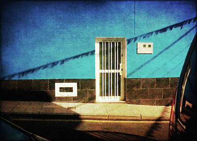 Poster featuring the photograph Alcala Blue Wall White Door by Anne Kotan