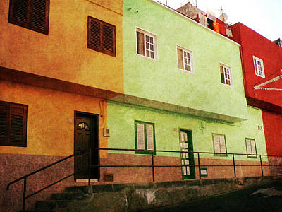 Poster featuring the photograph Alcala Orange Green Red Houses by Anne Kotan