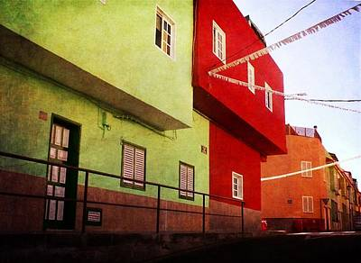 Poster featuring the photograph Alcala Red And Green Street by Anne Kotan