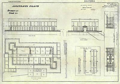 Alcatraz Defensive Barracks Drawing 1859 Poster