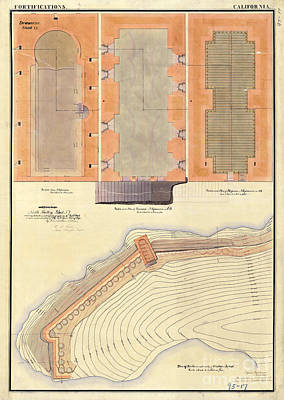 Alcatraz North Battery Drawing1856   Poster
