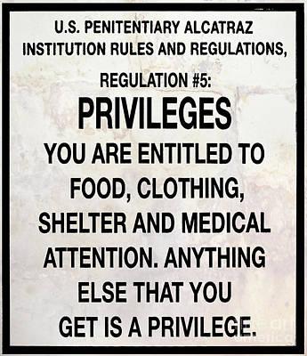 Alcatraz Prison Privileges Sign Poster