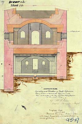 Alcatraz South Capniere Drawing 1856 Poster by Jon Neidert
