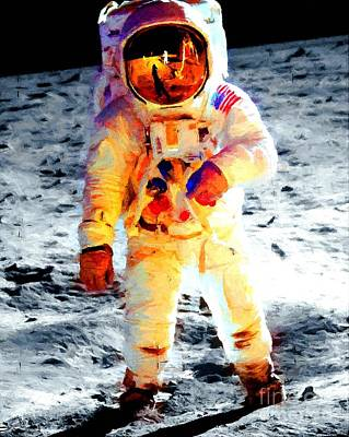 Aldrin Walks On The Surface Of The Moon During Apollo 11 / Art Prints For Sale Poster