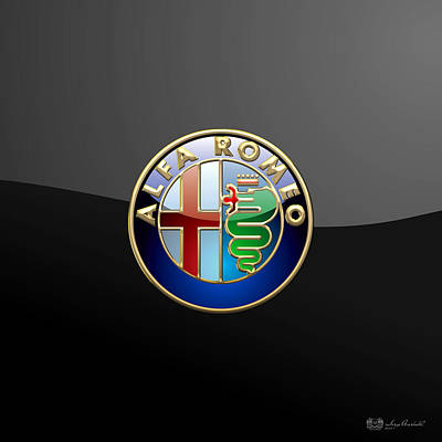 Alfa Romeo - 3 D Badge On Black Poster by Serge Averbukh
