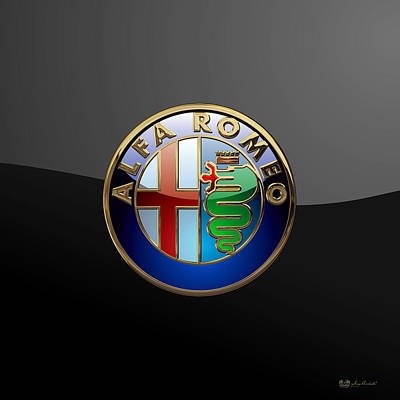 Alfa Romeo  - 3d Badge On Black Poster by Serge Averbukh