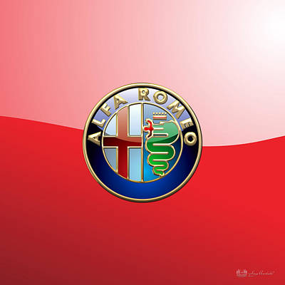 Alfa Romeo - 3d Badge On Red Poster by Serge Averbukh