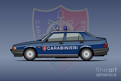 Alfa Romeo 75 Tipo 161, 162b Milano Carabinieri Italian Police Car Poster
