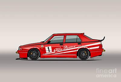 Alfa Romeo 75 Tipo 161 Works Corse Competizione Rosso Poster