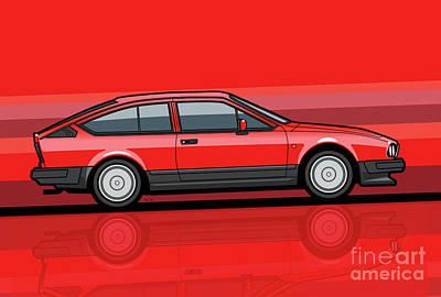 Alfa Romeo Gtv6 Red Stripes Poster by Monkey Crisis On Mars