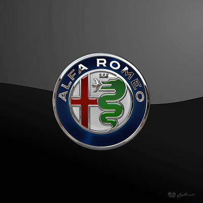 Alfa Romeo New 2015 3 D Badge Special Edition On Black Poster