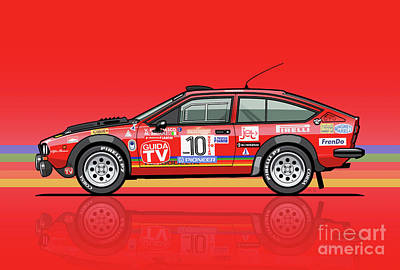 Alfetta Gtv Turbodelta Jolly Club Fia Group 4 1980 Sanremo Rallye Poster by Monkey Crisis On Mars