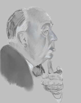 Alfred Hitchcock Drawing Poster