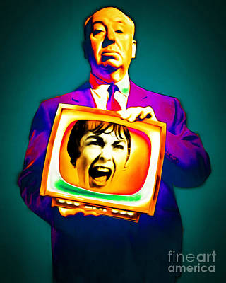 Poster featuring the photograph Alfred Hitchcock Psycho 20151218v3 by Wingsdomain Art and Photography