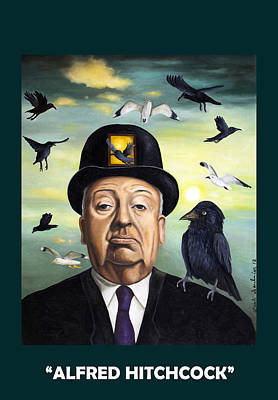 Alfred Hitchcock With Lettering Poster by Leah Saulnier The Painting Maniac