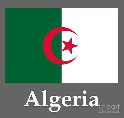 Algeria Flag And Name Poster