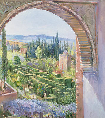 Alhambra Gardens Poster by Timothy Easton