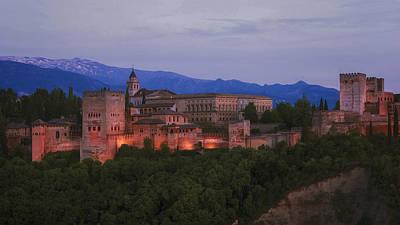 Alhambra Granada Dusk Poster by Joan Carroll