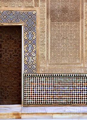 Alhambra Palace Patio Del Cuarto Dorado Door Poster by Guido Montanes Castillo