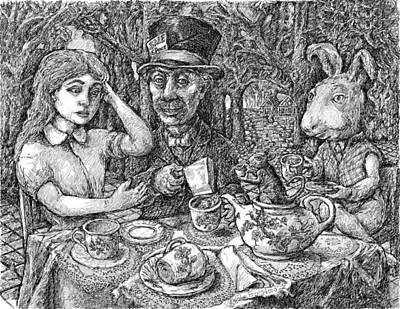 Alice And The Mad Hatter Poster by Steve Breslow