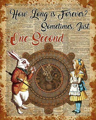 Alice And White Rabbit Vintage Dictionary Art Quote Poster by Jacob Kuch