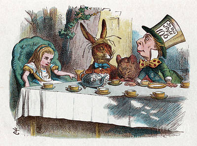 Alice At The Mad Hatter's Tea Party In Wonderland Poster
