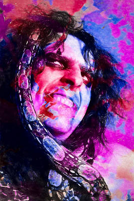 Alice Cooper And Snake Poster