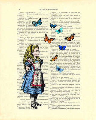 Alice With Blue And Orange Butterflies Poster