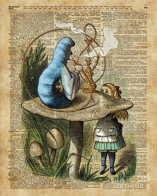 Alice,mushroom And Jin,vintage Dictionary Art Poster by Jacob Kuch