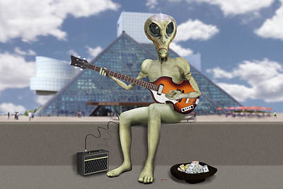 Alien Bass Guitarist  Poster by Mike McGlothlen