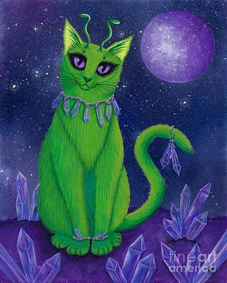 Poster featuring the painting Alien Cat by Carrie Hawks