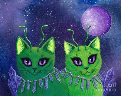 Poster featuring the painting Alien Cats by Carrie Hawks