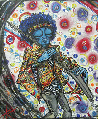 Poster featuring the painting alien Jimi Hendrix by Similar Alien