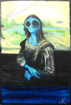 Poster featuring the painting alien Mona Lisa by Similar Alien