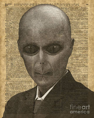 Alien Over Dictionary Page Poster