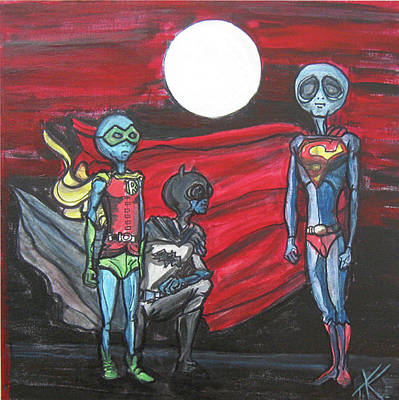 Poster featuring the painting Alien Superheros by Similar Alien