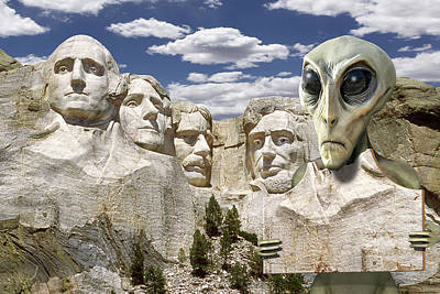 Alien Vacation - Mount Rushmore 2 Poster by Mike McGlothlen