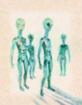 Aliens Rising By Raphael Terra Poster