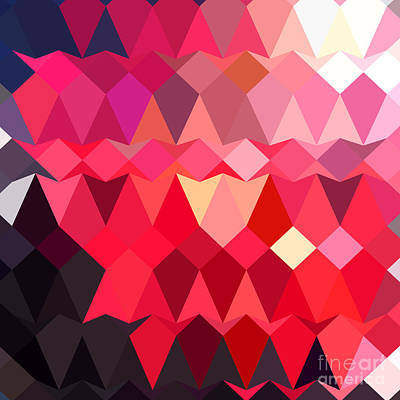 Alizarin Crimson Abstract Low Polygon Background Poster by Aloysius Patrimonio
