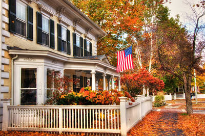 All American Street In Autumn - Woodstock, Vermont Poster