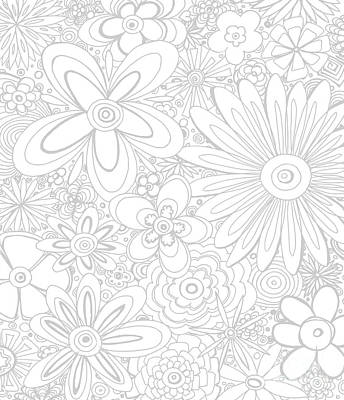 All Over Flower Floral Pattern Coloring Gray And White Ethereal Design By Megan Duncanson Madart Poster